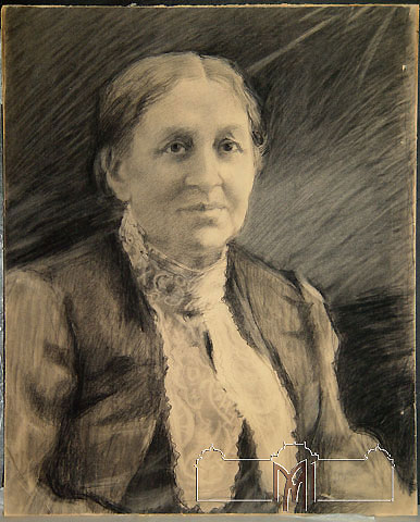 Eugenia Malesevschi (1869-1942) Mother�s portrait, 1920-40, charcoal, paper, 56,3x45,6cm
