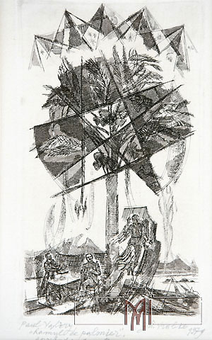 Gheorghe Vrabie (1939) Illustration for Magic by Paul Valery, 1973, paper, etching, aquatint, 27,0x17,5cm